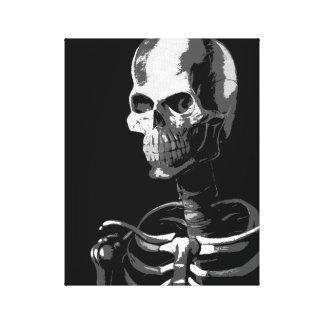 Zwart-wit skelet stretched canvas afdruk
