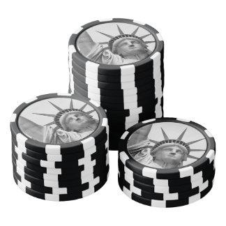 Zwart-wit Standbeeld van Vrijheid Pokerchips
