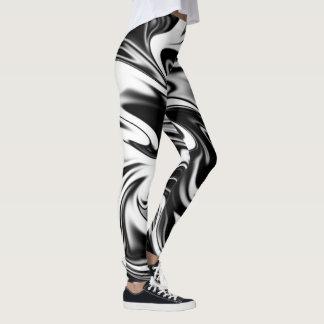 Zwart-wit Vloeibaar Marmeren Patroon, Leggings