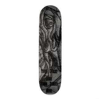 zwart-witte abstracte retro kunst stellende dame 20,0 cm skateboard deck