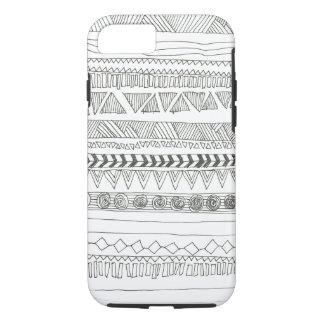 Zwart-witte Azteekse Stammen iPhone 7 Hoesje