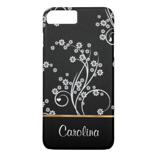 Zwart-witte bloemen, faux gouden folie iPhone 8/7 plus hoesje