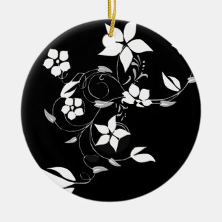 Zwart-witte Bloemen Rond Keramisch Ornament