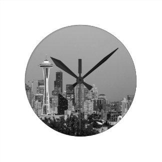 Zwart-witte cityscape van Seattle Ronde Klok