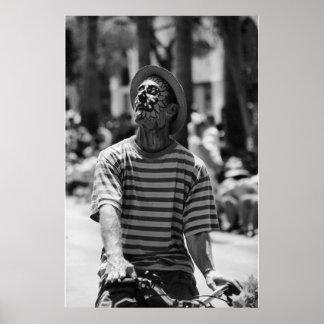 zwart-witte clown poster