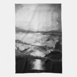 Zwart-witte de keukenhanddoek van de Zonsondergang