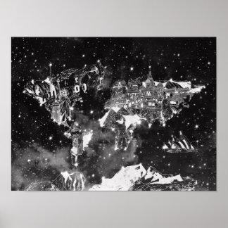 zwart-witte de melkweg van de wereldkaart poster