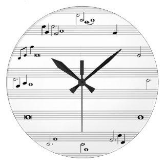 Zwart-witte de notaprikklok van de muziek - ronde klok large