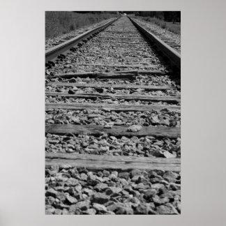 Zwart-witte de sporen van de spoorweg poster