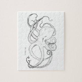 Zwart-witte de Tekening van de Inkt van de octopus Puzzels