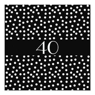 Zwart-witte de Vlekken van de Verjaardag van de 13,3x13,3 Vierkante Uitnodiging Kaart