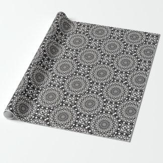 Zwart-witte Decoratieve Mandala Inpakpapier