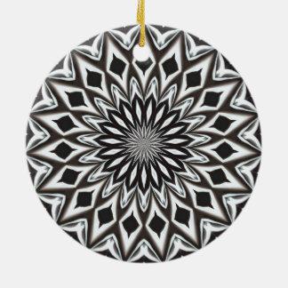 Zwart-witte Decoratieve Mandala Rond Keramisch Ornament
