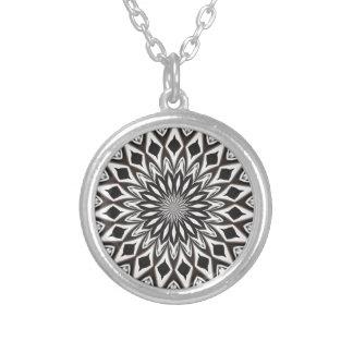 Zwart-witte Decoratieve Mandala Zilver Vergulden Ketting