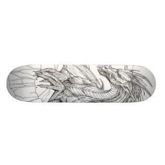 zwart-witte draak skate deck
