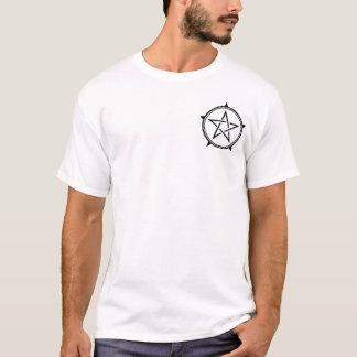 Zwart-witte Dubbele Besnoeiing Pentagram T Shirt