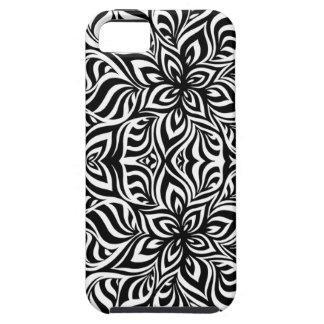 Zwart-witte Fractal van de Inkt Bloemen Tough iPhone 5 Hoesje