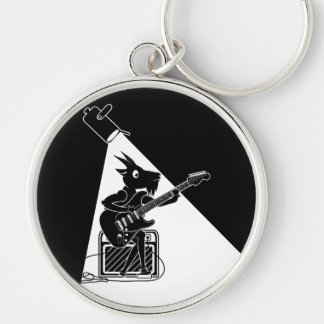 Zwart-witte geit die een elektrische gitaar spelen zilverkleurige ronde sleutelhanger