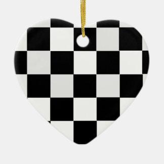 Zwart-witte Geruit Keramisch Hart Ornament