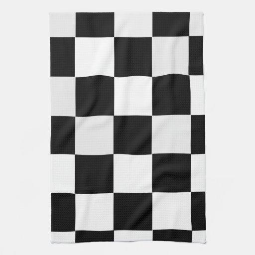 Zwart witte geruit keuken handdoek zazzle - Zwart witte tiener slaapkamer ...