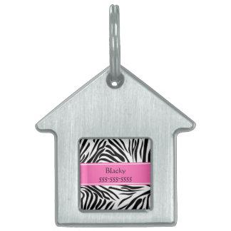 Zwart-witte Gestreepte Druk met Heet Roze Huisdieren Naamplaatjes