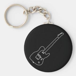 zwart-witte gitaar basic ronde button sleutelhanger