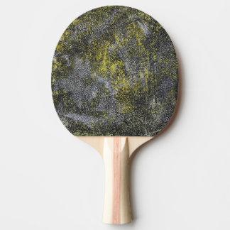 Zwart-witte Inkt op Gele Achtergrond Tafeltennis Bat
