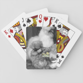 Zwart-witte Kippen Silkie met gele Kuikens Pokerkaarten