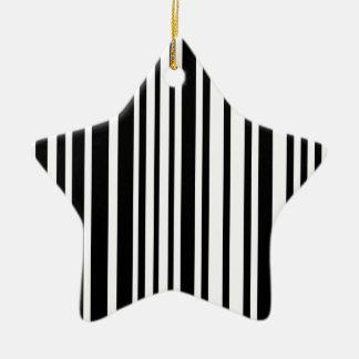 Zwart-witte Lijnen Keramisch Ster Ornament