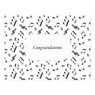 Zwart-witte muzieknoten briefkaart