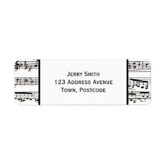 Zwart-witte muzieknoten (Grote tekst) Etiket