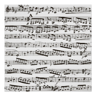 Zwart-witte muzieknoten poster