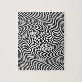 Zwart-witte optische illusie foto puzzels