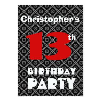 13 jaar verjaardag uitnodigingen aankondigingen - Zwart witte tiener slaapkamer ...