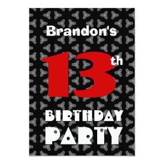 Gepersonaliseerde 13 jaar verjaardag uitnodigingen en aankondigingen - Zwart witte tiener slaapkamer ...