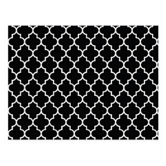 Zwart-witte Quatrefoil Briefkaart