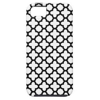 Zwart-witte Quatrefoil Tough iPhone 5 Hoesje
