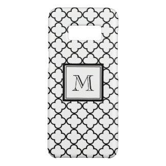 Zwart-witte Quatrefoil, Uw Monogram Case-Mate Samsung Galaxy S8 Hoesje