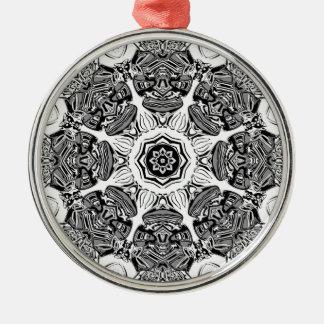 Zwart-witte Samenvatting Zilverkleurig Rond Ornament