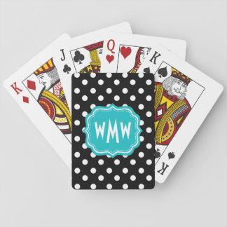 Zwart-witte Stippen met Blauwgroen Monogram Pokerkaarten
