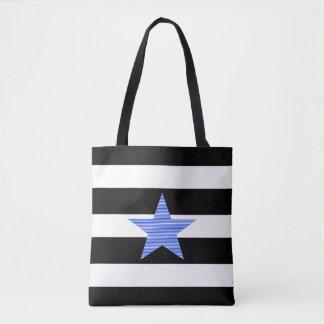 Zwart-witte stroken - - blauwe ster draagtas