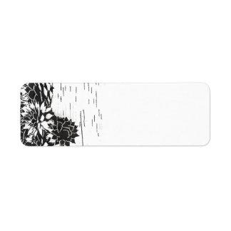 Zwart-witte Succulent Etiket