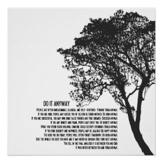 Zwart-witte Tree Do It Anyway Poster
