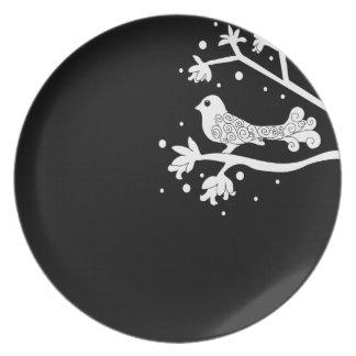 Zwart-witte Vogel op een Tak met wervelingenbord Melamine+bord