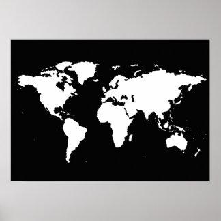 zwart-witte wereldkaart poster