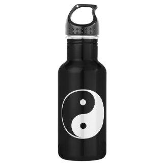 Zwart-witte Yin en Yang Waterfles