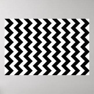Zwart-witte Zigzag Poster