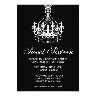 Zwart-witte Zoete Verjaardag Zestien van de 12,7x17,8 Uitnodiging Kaart