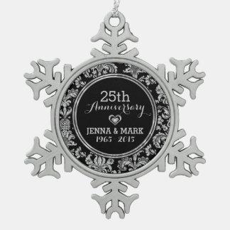 Zwart & Zilveren 25ste Ornament 5 van het Jubileum Tin Sneeuwvlok Ornament