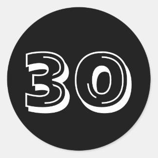 Zwarte 30ste Verjaardag Ronde Sticker